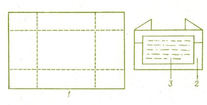 Рис. 15. Форма коллекционного пакета: 1 - лист с пунктирными линиями сгиба; 2 - пакет в готовом виде; 3 - этикетка с записями.